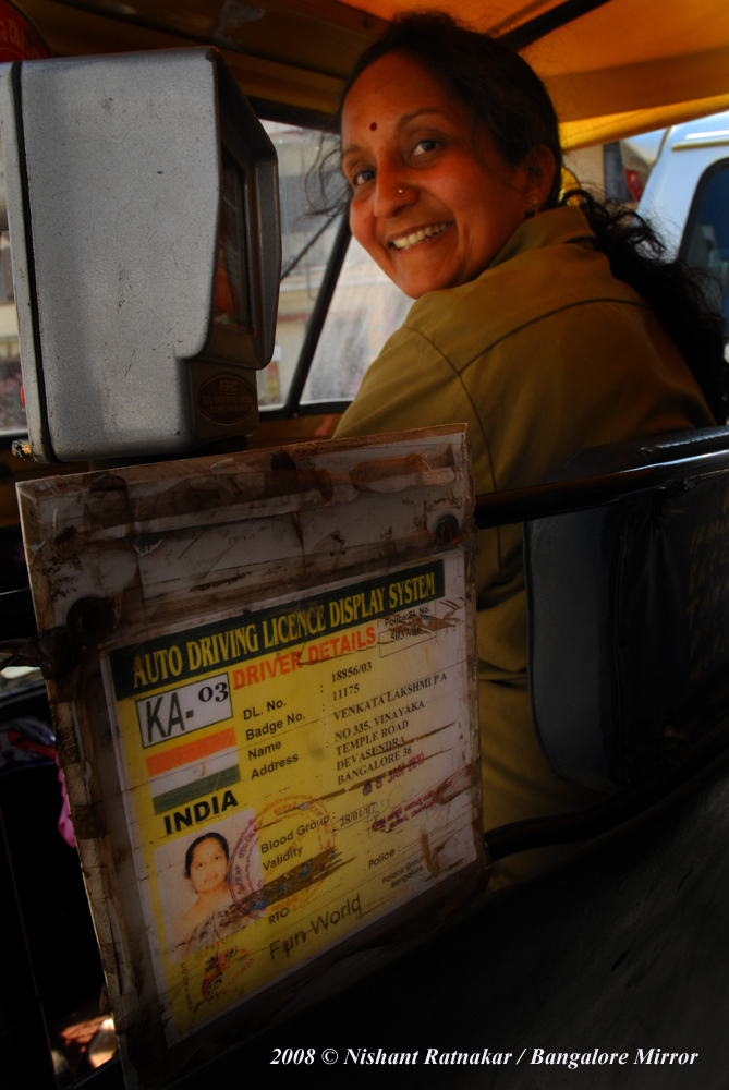 P A Venkata Lakshmi, a women auto driver in Bangalore city. Lakshmi is more than an auto driver. She is a law student. At the age of 33 years, this married woman and a mother of a 9 year old girl, has five semesters to complete before she can become a lawyer.