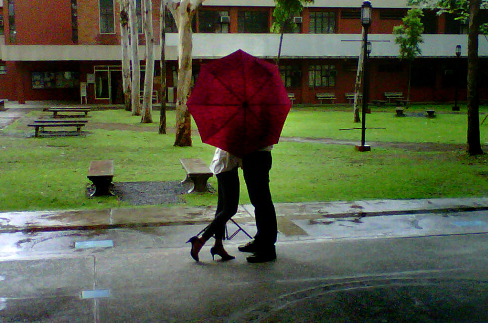 A Mobile Phone Photograph Of Young Couple During Pre Wedding Portrait Shoot Done At Ateneo De Manila University Campus While We Were Defending Our